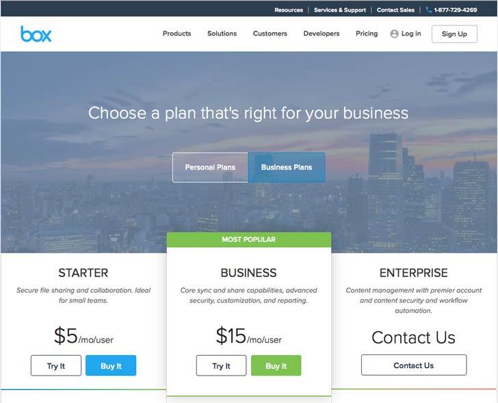 نمونه ای از صفحه قیمتهای یک وبسایت