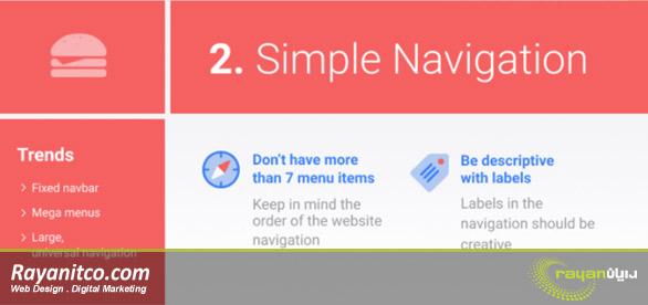 ساده سازی ناوبری منوی سایت و نقش آن در بهینه سازی سایت
