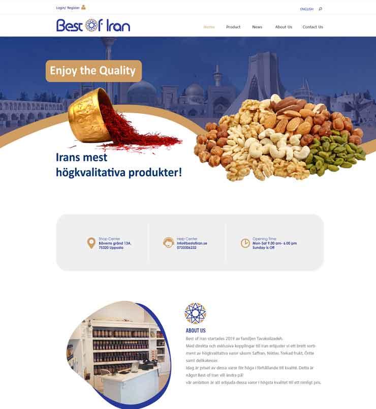 طراحی سایت شرکت Best of Iran