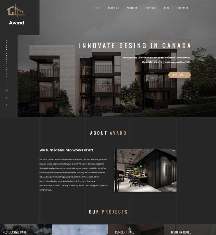 طراحی سایت شرکت معماری Avand کانادا