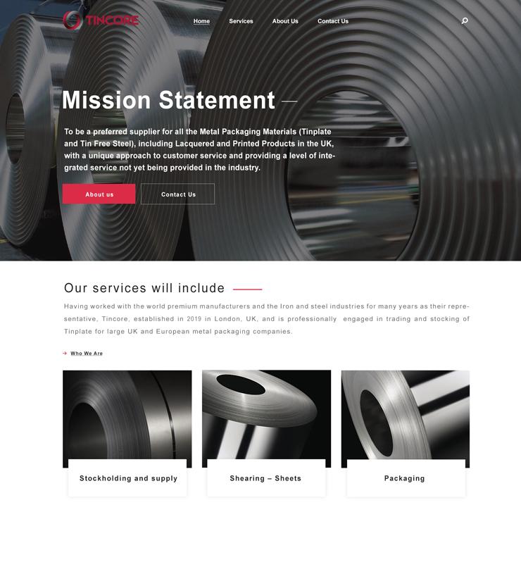 طراحی سایت شرکت Tincore انگلیس
